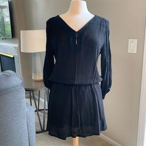 H&M Black Long Sleeve Cinched Waist Dress